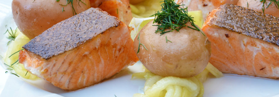 Boiled Salmon with pumpkin