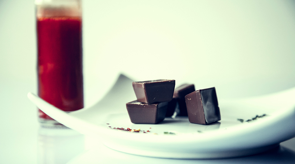 Cube shaped pieces of Dark Chocolate